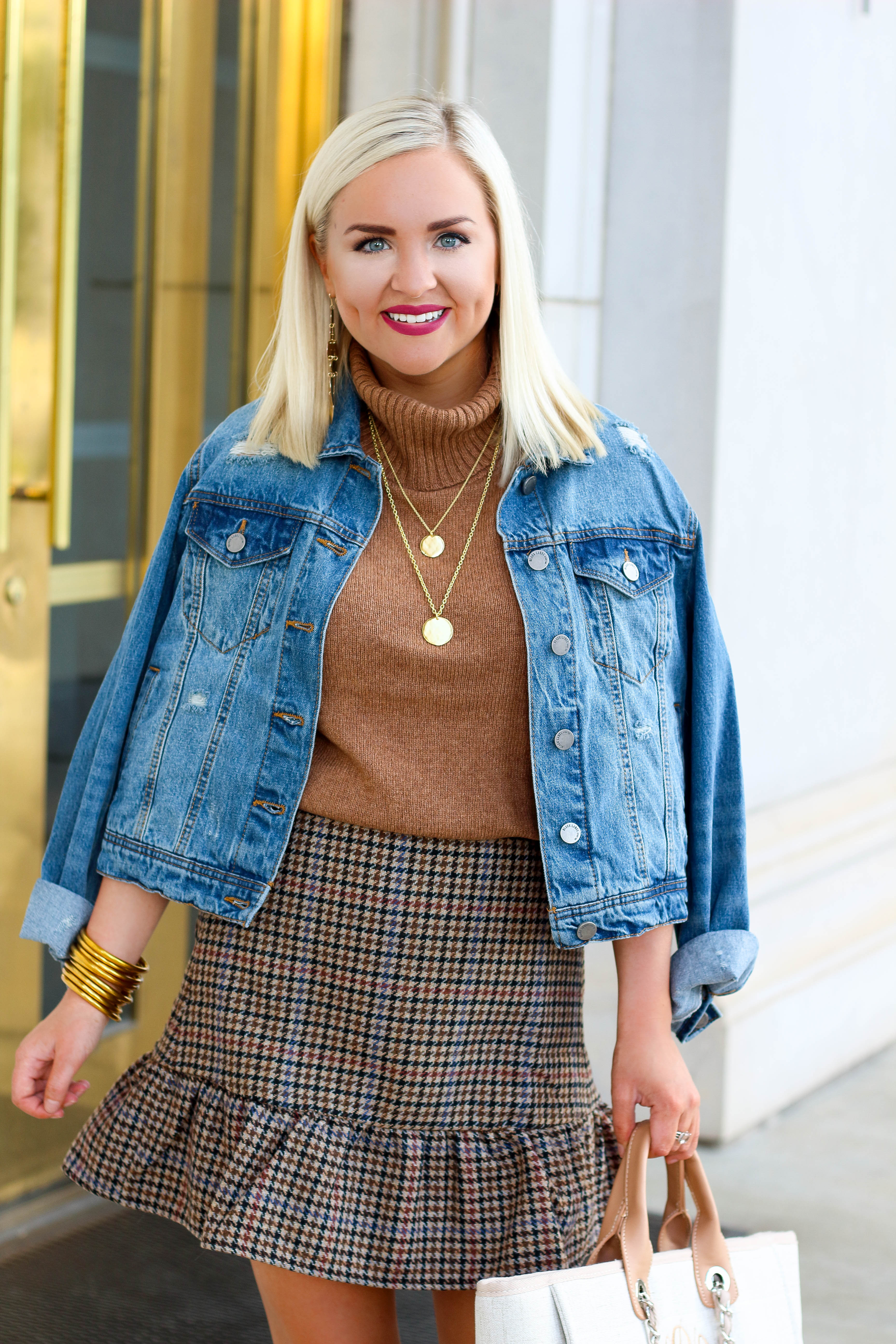 Fall Plaid Skirt Outfit