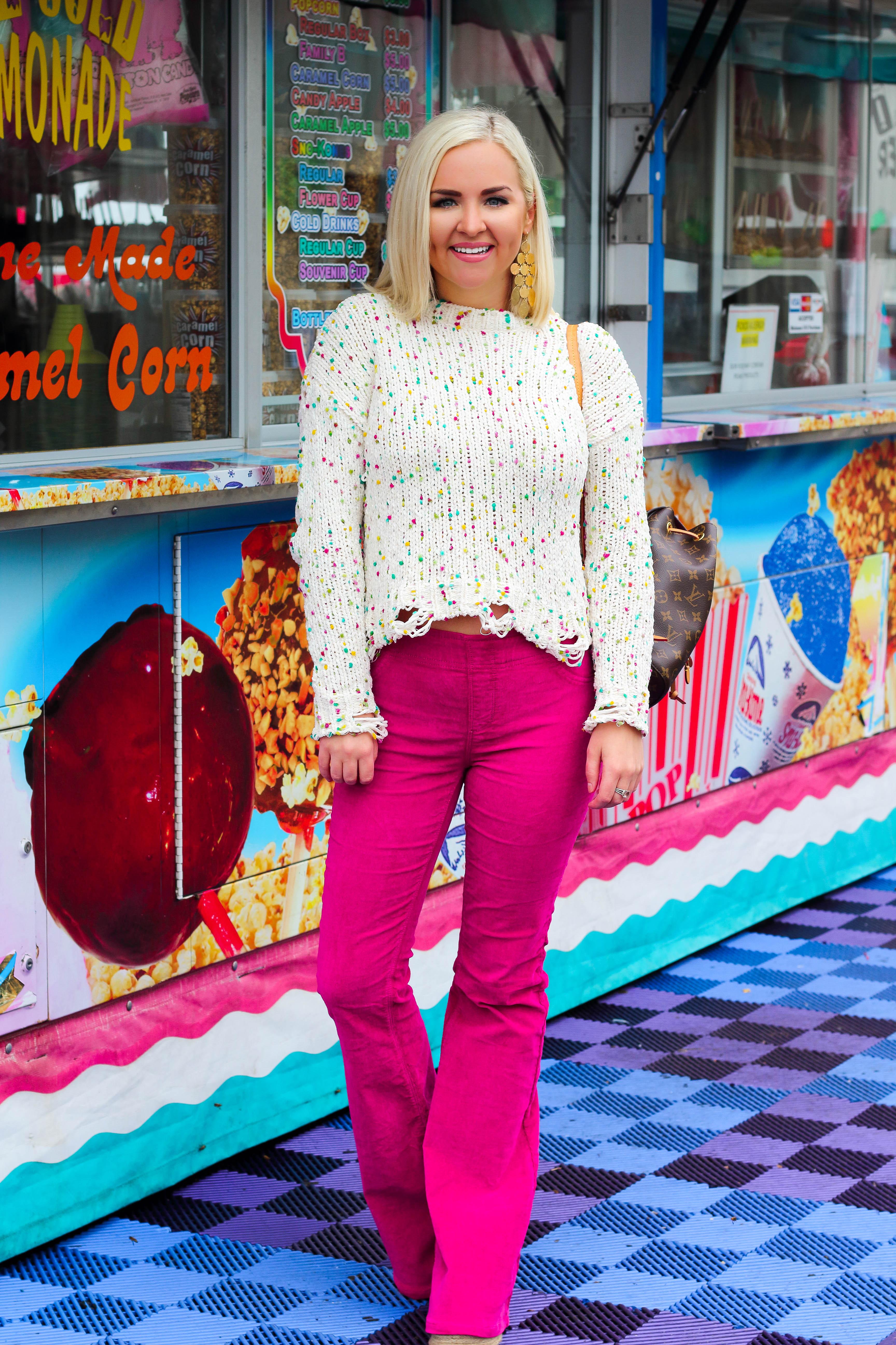 Confetti Sweater + Hot Pink Corduroys